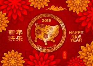 Chinese New Year 2019 festive card design with cute pig, zodiac symbol of 2019 year. Chinese Translation Happy New Year, wishes of good luck (on stamp). Vector illustration.